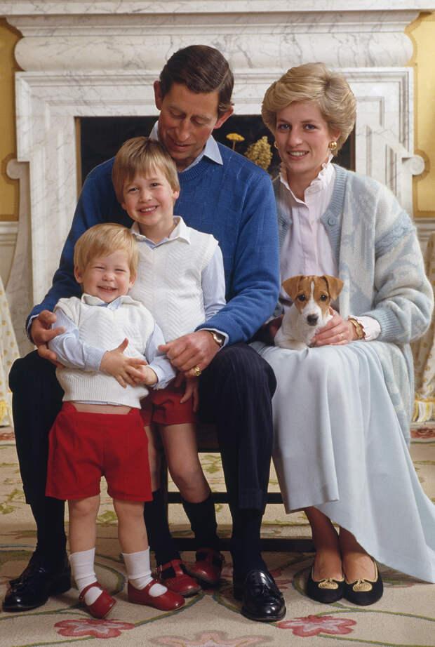 Принц Чарльз и принцесса Диана с детьми