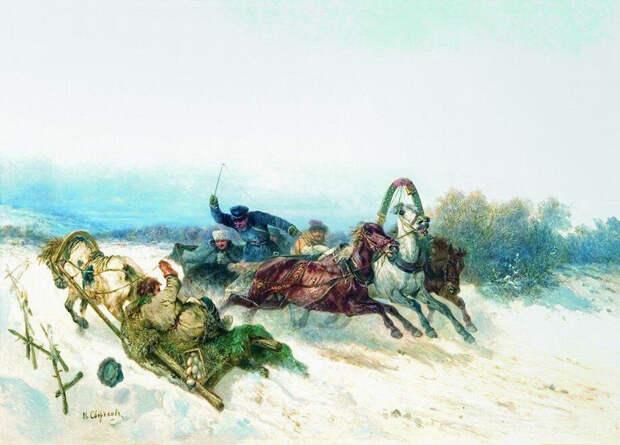 """Н. Сверчков """"Случай на дороге"""". (1840 г)."""