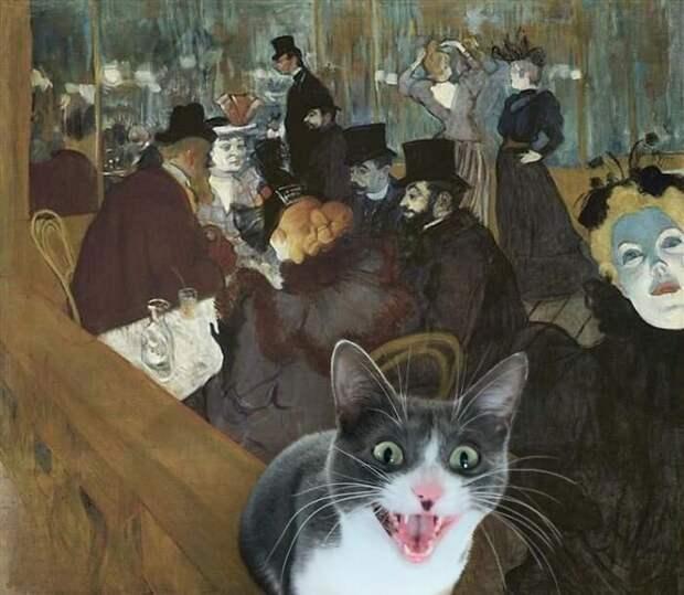 Художница сделала картины старых мастеров еще лучше, добавив туда кошек