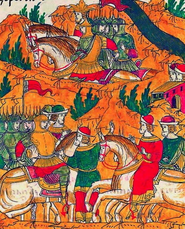 Гонец сообщает Шереметеву о переправе хана через Донец. Миниатюра из Лицевого свода, том 22 - «Ознаменованная славой отчаянной битва…» | Warspot.ru