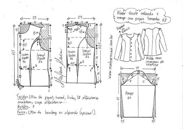 Выкройка лёгкого женского блейзера