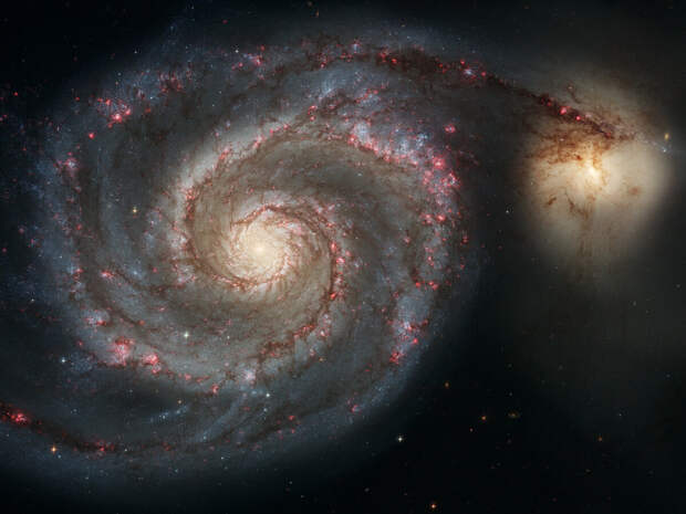 Галактики M51 («Водоворот») и NGC 5195 — снимок телескопа Hubble. NASA/ESA/STScI.