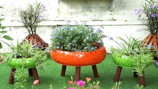 Необычайно красивая идея для сада из покрышек и досок