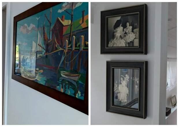 Гостиная крошечного дома на колесах украшена оригинальными картинами и фотографиями («Greyhound»).