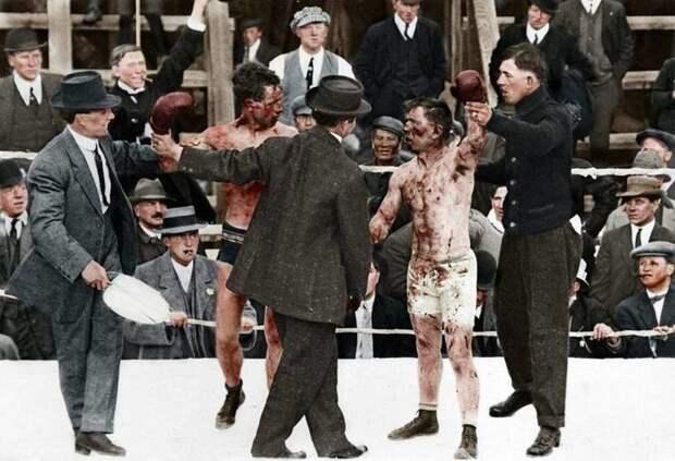 Колоризированное фото боксерского поединка между Роем Кэмпбеллом и Диком Хайлендом, Канада, 1913 г. Весь Мир, история, фотографии