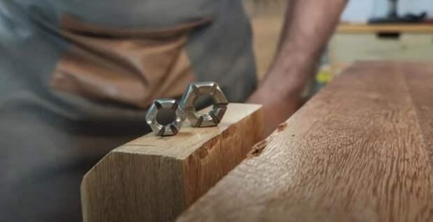 Как с помощью гаек округлить деревянные бруски