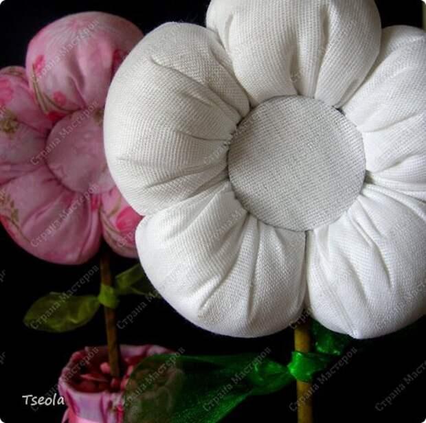 Бонсай топиарий Мастер-класс 8 марта Шитьё Цветок из ткани Гипс Ткань фото 12