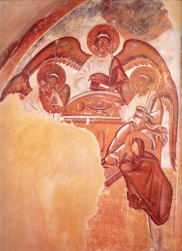 Троица. Феофан Грек. 1378 г. Фреска в камере на хорах. Церковь Спаса Преображения на Ильине улице, Новгород
