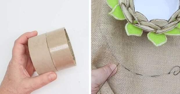 Удивительная идея из бобин от скотча, мешковины и джута