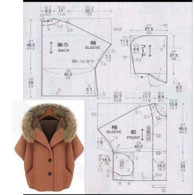 Несложная выкройка безразмерного пальто оверсайз с капюшоном