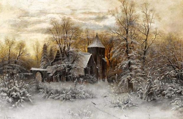 Зимний вечер (700x456, 390Kb)