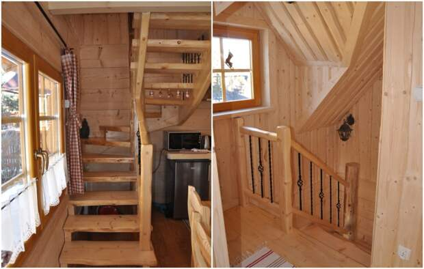 Деревянная лестница ручной работы ведет на второй этаж («Stunning Gate Lodge»).   Фото: stiri.magazinuldecase.ro.