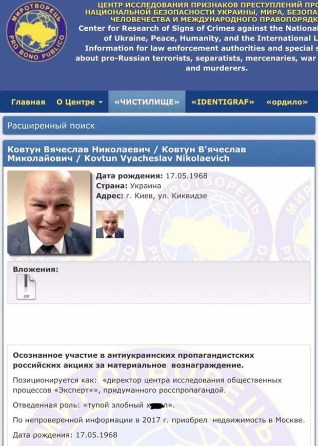 Украинский политолог Ковтун поплатился за участие в российских ток-шоу