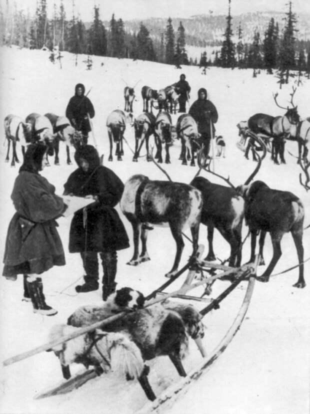 Бойцы - оленеводы фронта Карелии, 1942 год.