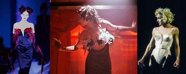первое появление Яи в танце и творения моих любимых эпатажных модельеров. (если вы читаете с десктопа, то нажимайте на картинки в статье, чтобы увеличить и рассмотреть детали). Показ Mugler Весна 1997, Мадонна в сценическом образе от Жан Поля Готье, 1990 и Яя в бюстгальтере с птичками, 1998 :)