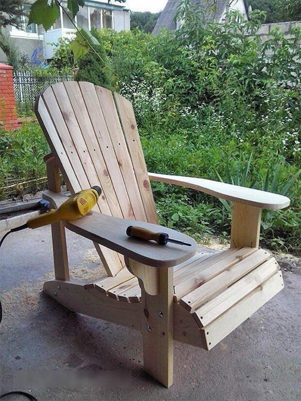 Самодельное кресло для отдыха на даче (чертежи, фото)
