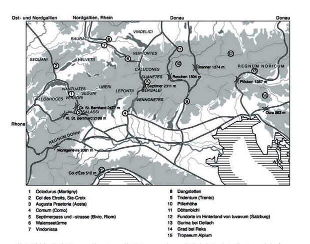 Альпы и важнейшие перевалы. Martin-Kilcher St. S. 29 - Войны Августа: покорение Альп   Военно-исторический портал Warspot.ru