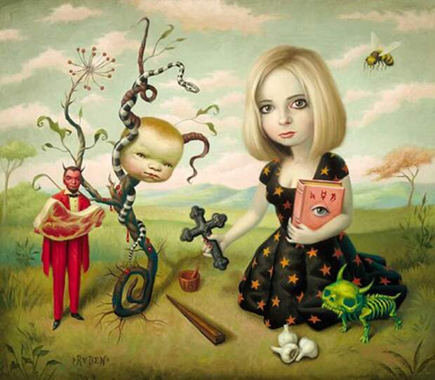 Героиня картины «Истребительница», нарисованной в 1999 году американским поп-сюрреалистом Марком Райденом, похожа на депутата Госдумы РФ Наталью Поклонскую