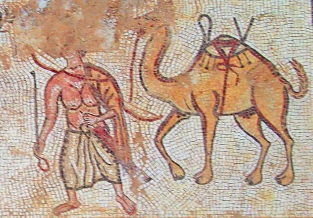 Кочевой араб с верблюдом. Римская мозаика V века н.э. с территории современной Иордании - Войны Августа: Эфиопия и Аравия   Warspot.ru