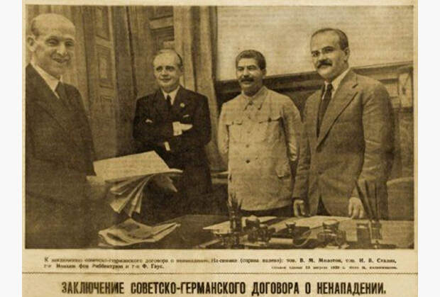 Подписание договора о ненападении между СССР и Германией, 23 августа 1939 г.