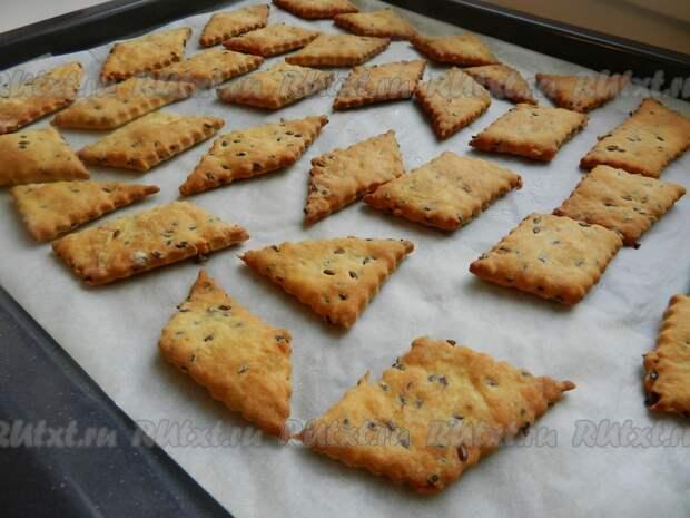 Домашнее печенье (крекер) с семенами льна