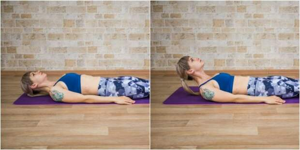 Гимнастика для шеи: Подъёмы шеи лёжа