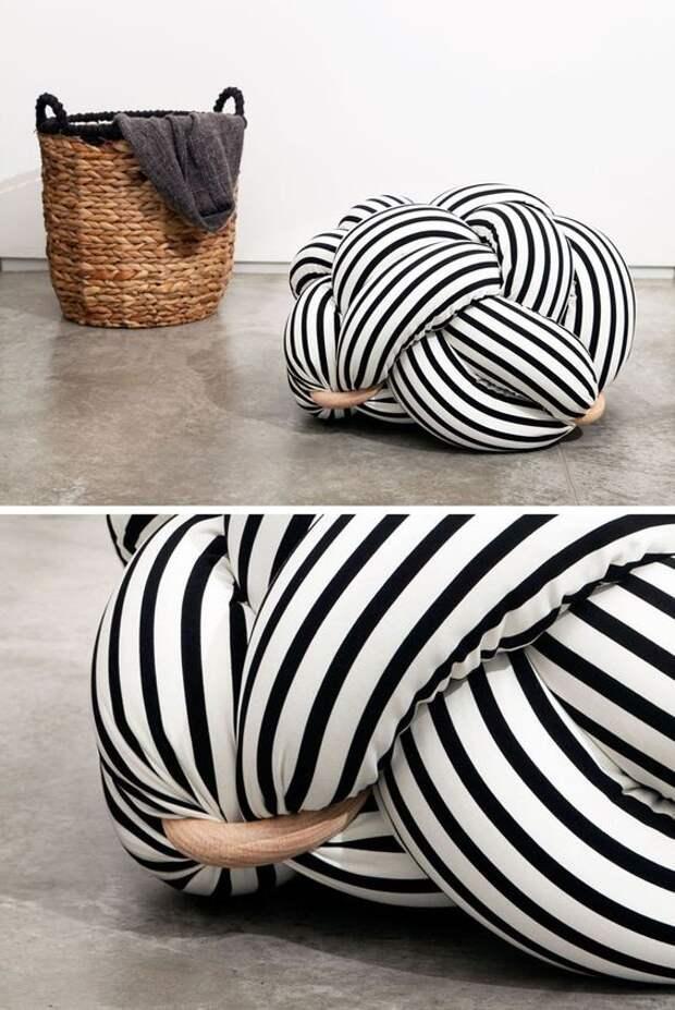 Подушки и пуфики узлами (подборка DIY)