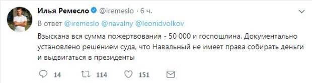Взыскана вся сумма пожертвования - 50 000 и госпошлина. Документально установлено решением суда, что Навальный не имеет права собирать деньги и выдвигаться в президенты