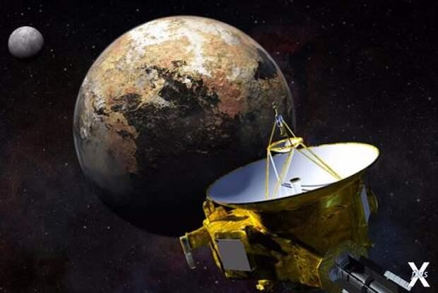 Подлёт «Новых горизонтов» к Плутону 15-го июля 2015-го в представлении художника. Изображение: NASA/JHU APL/SwRI/Steve Gribben