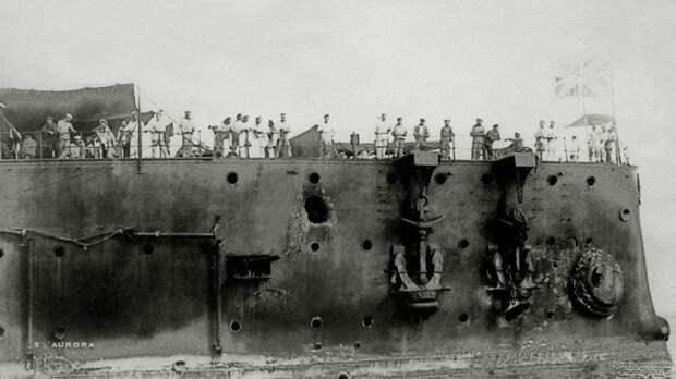 Крейсер «Аврора» после Цусимского сражения, 1905 год. история, мгновения жизни, фотография