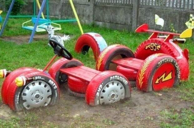 Поделки из шин для детской площадки: идеи
