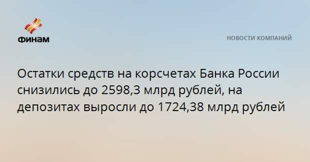 Остатки средств на корсчетах Банка России снизились до 2598,3 млрд рублей, на депозитах выросли до 1724,38 млрд рублей
