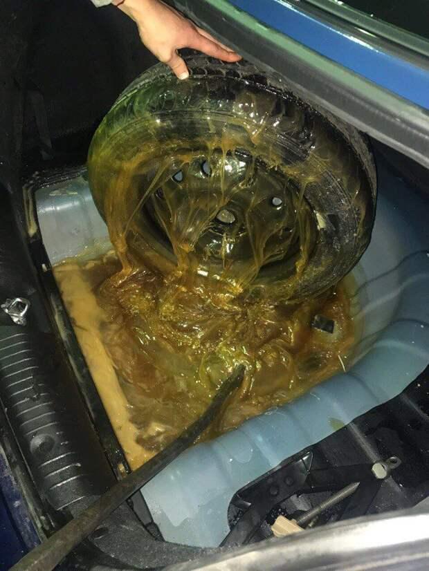 Мёд пролился в багажнике авто, автомойка, автоприкол, багажник, запаска, курьез, мед, прикол