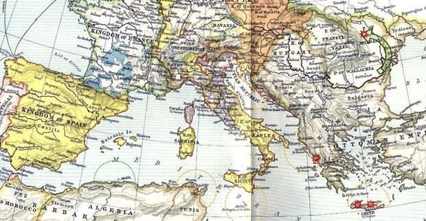 Европа (в государственных границах около 1560 года) и военные действия летом 1538 года. Для императора Карла первоочередную важность имели «внутриимперские» морские пути в западном Средиземноморье, из Испании в Италию, для Венеции — восточное Средиземноморье. commons.wikimedia.org - Превеза: сборы, споры, штурм, разведка | Военно-исторический портал Warspot.ru