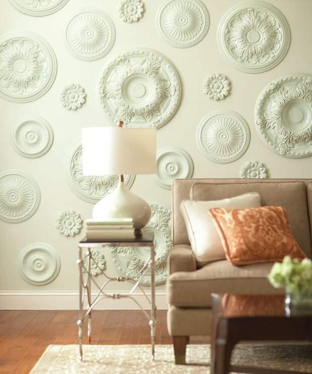 Потолочные розетки на стенах