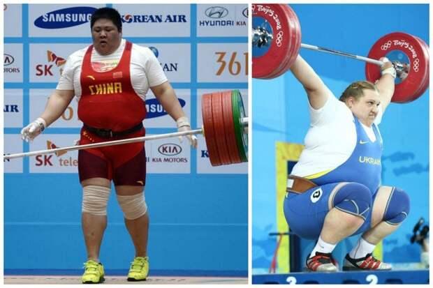 Ну эти то точно мягенькие - китайская и украинская штангистки - Чжоу Лулу и Ольга Коробка бодибилдеры, всячина, женщины, интересное, красота, культуризм, сила, спорт
