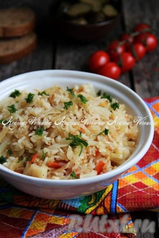 Капуста, тушёная с рисом в мультиварке