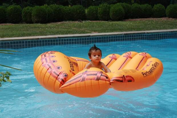 Baby, Mohawk, Pool, Summer, Inflatable Mattress