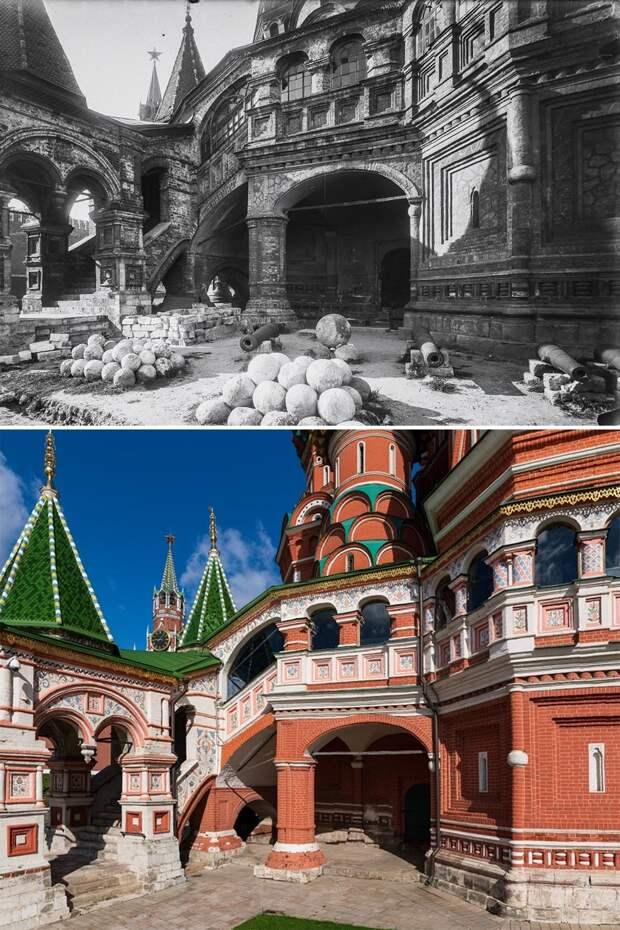 До и после: Храм Василия Блаженного 100 лет назад и сейчас