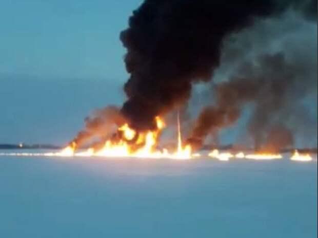 Пожар на реке Обь сняли на видео