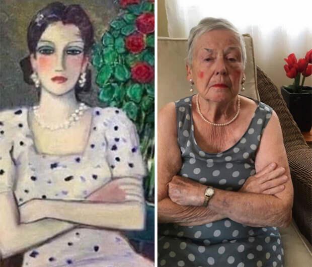 Дочь иее83-летняя мать воссоздают произведения искусства накарантине