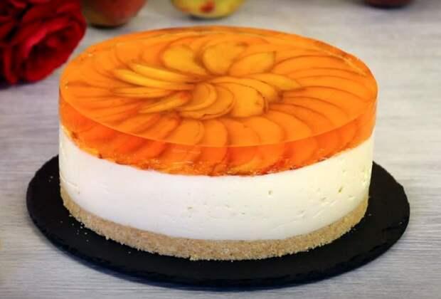 Муссовый торт с персиками без выпечки: пошаговый рецепт с фото