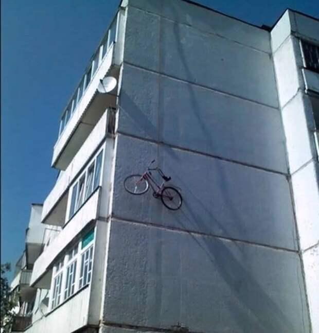Попробуйте придумать более безопасный способ хранения велосипеда в мире, вещи, кража, люди, прикол, юмор