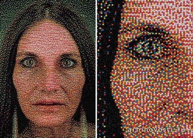 Портреты из канцелярских кнопок от Эрика Даига (Eric Daigh)
