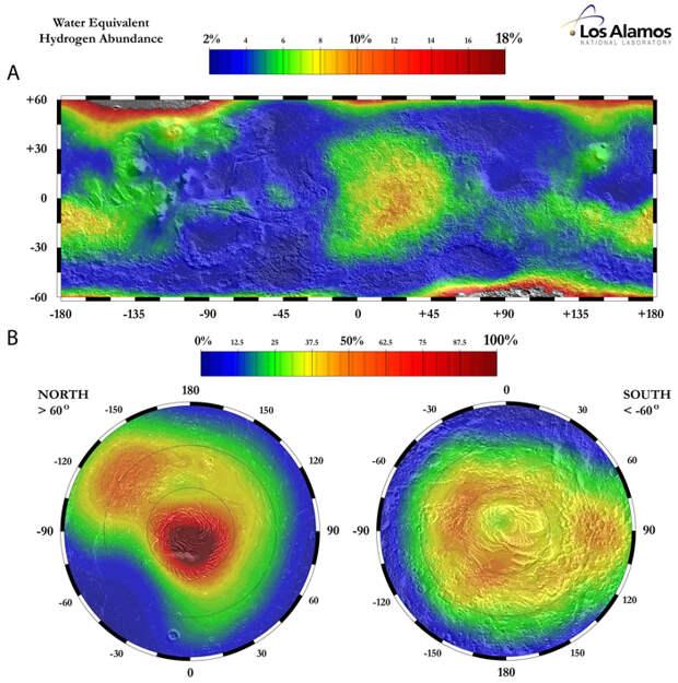 Рис. 2. Содержание водяного льда в приповерхностном слое Марса