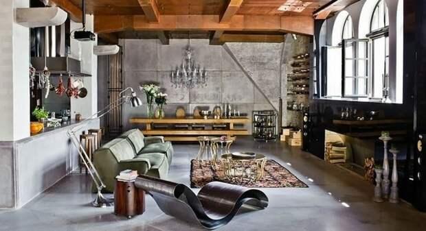 Интерьер кухни-гостиной индустриальный стиль