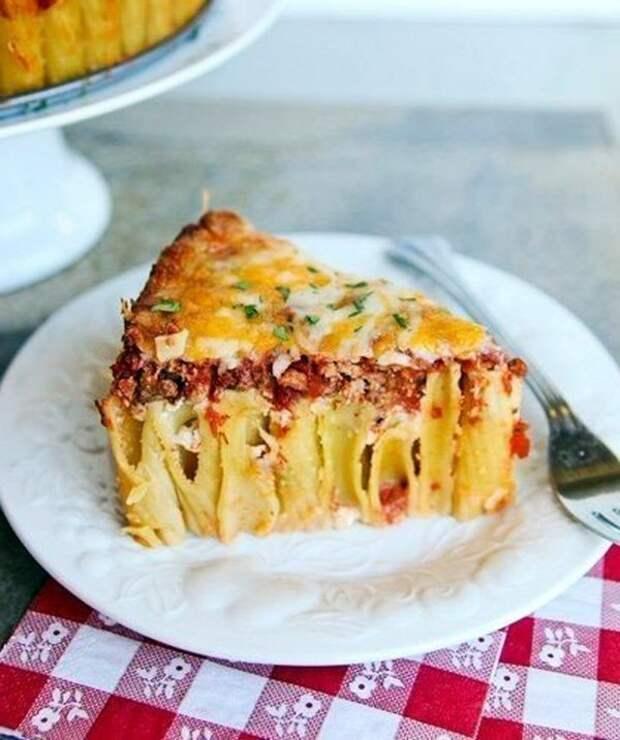 Итальянский пирог из макарон рожков ригатони2