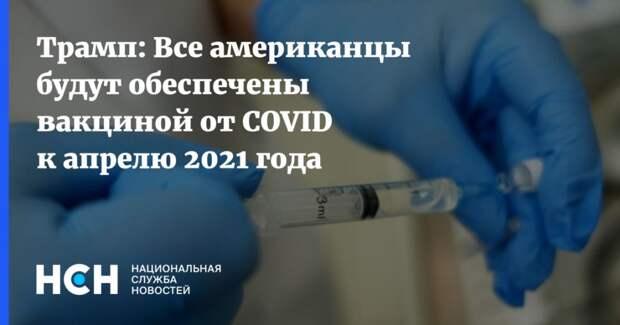 Трамп: Все американцы будут обеспечены вакциной от COVID к апрелю 2021 года