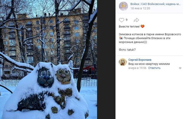 Фото дня: котики укрылись снежным пледом в парке имени Воровского