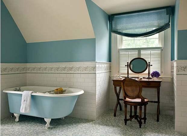 красивый дизайн ванной комнаты с окном